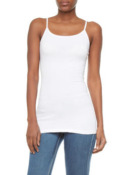 Basic Cami With Adjustable Spaghetti Straps - WHITE - 5201054261340