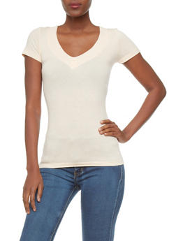 Short Sleeve Knit V-Neck Top - 5202054266505