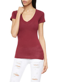 Short Sleeve Knit V-Neck Top - 5202054266505