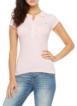 Short Sleeve Polo Shirt with Embroidered Horse Design - 5203054260286