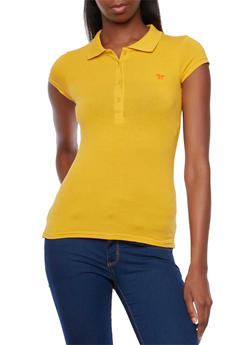 Short Sleeve Polo Shirt with Embroidered Horse Design - GOLD - 5203054260286