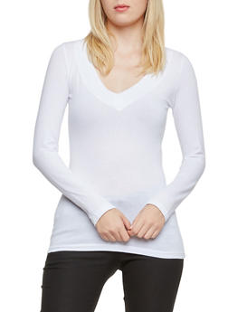 V Neck Top with Long Sleeves - WHITE - 5204054263572