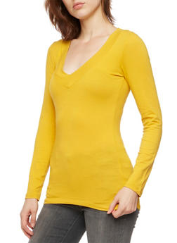 V Neck Top with Long Sleeves - 5204054263572