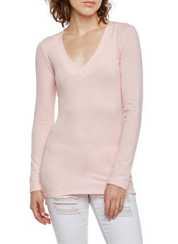 V Neck Top with Long Sleeves - BLUSH - 5204054263572