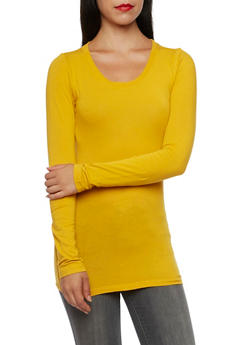 Long Sleeve Top with Scoop Neck - GOLD - 5204054263800