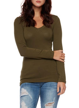 V Neck Top with Long Sleeves - OLIVE - 5204054263900