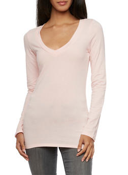 V Neck Top with Long Sleeves - BLUSH - 5204054263900