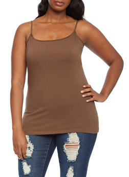 Plus Size Solid Built-In Bandeau Camisole - 5241054260061