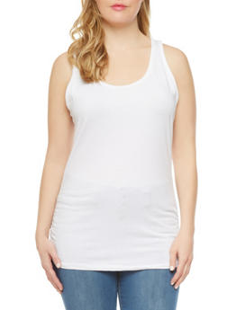 Plus Size Tank Top with Ruched Sides - 5241054263806