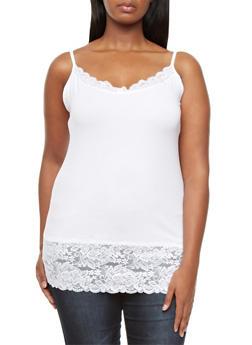 Plus Size Lace Trim V-Neck Spaghetti Strap Camisole - WHITE - 5241054268329