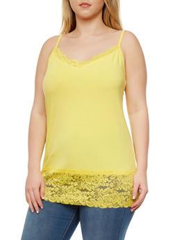 Plus Size Lace Trim V-Neck Spaghetti Strap Camisole - 5241054268329