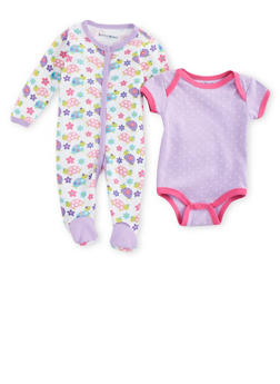 Baby Girl Set of 2 Bodysuits with Polka Dot and Turtle Print and Bib - 5501050090540