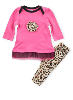 Baby Girl Tulle Accented Top with Printed Leggings Set - 5506004560116