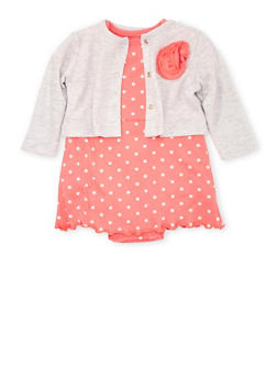 Baby Girl Skirted Bodysuit and Cardigan Set in Floral Print - 5506004560150