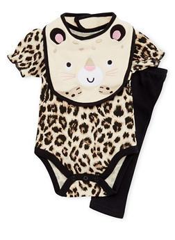 Baby Girl Bodysuit with Leggings and Bib Set - 5506004560480