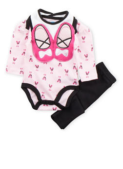 Baby Girl Bodysuit with Leggings and Bib Set - 5506004562484