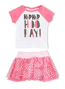 Baby Girl Graphic T Shirt and Foil Dot Tutu with Attached Shorts Set - 5506014298367