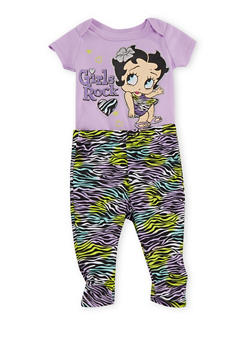 Baby Girl Bodysuit and Leggings Set with Betty Boop Graphic - 5506017725653