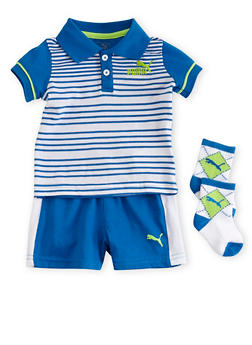 Baby Boy Puma Brand Striped Polo Tee Shorts and Socks Set - 5506045804480