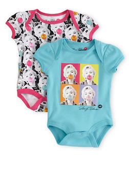 Baby Girl Set of 2 Graphic Bodysuits with New Chic Marilyn Bubblegum Print - 5506050090021