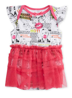 Baby Girl Bodysuit with Tutu and Marilyn Monroe Print - 5506050090026