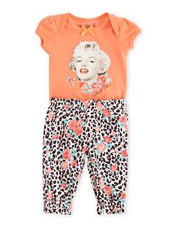 Baby Girl Marilyn Monroe Bodysuit and Leggings Set - 5506050090036
