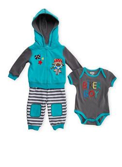 Baby Boy 3-Piece Set with Biker Boy Teddy Bear Embroidery - 5506050090045