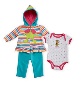 Baby Girl Frog Princess Graphic Peplum Hoodie Bodysuit and Leggings Set - 5506050094513