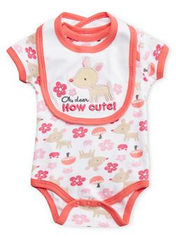 Baby Girl Deer Print Bodysuit with Bib Set - 5506050094933