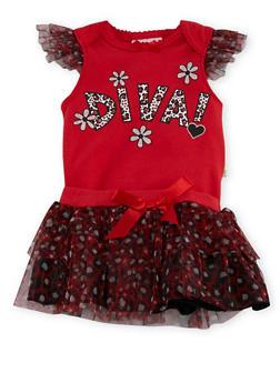 Baby Girl Printed Bodysuit and Tutu Set - 5506054732815
