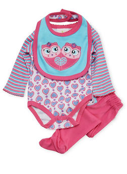 Baby Girl Bodysuit with Footed Pants and Bib Set - 5506054733009