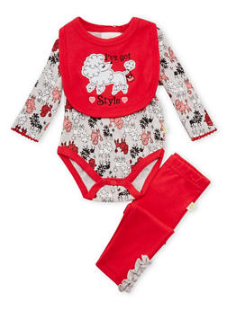 Baby Girl Sheep Print Bodysuit with Leggings and Bib Set - 5506054733012