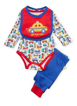 Baby Boy Bodysuit with Joggers and Bib Set - 5506054733020