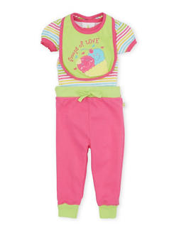 Baby Girl Striped Bodysuit with Graphic Bib and Joggers Set - 5506054733898
