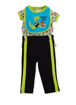 Baby Boy Bodysuit and Bib with Sweatpants Set - 5506054733907