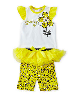 Baby Girl Top and Leggings with Removable Tutu Set - 5506054733913
