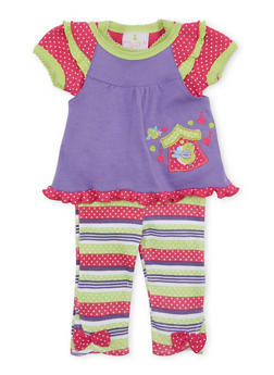 Baby Girl Bodysuit with Top and Pants Set - 5506054733915