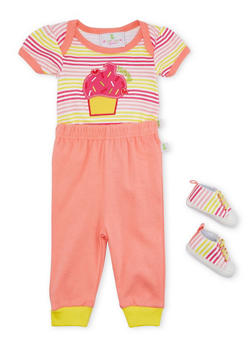 Baby Girl Bodysuit and Joggers with Slip-On Shoes - 5506054733968