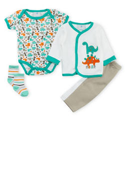 Baby Boy Dinosaur Bodysuit, Sweater, Pants and Socks Set - 5506054734359