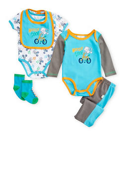 Baby Boy 5 Piece Set of 2 Bodysuits with Joggers Bib and Socks - 5506054735148