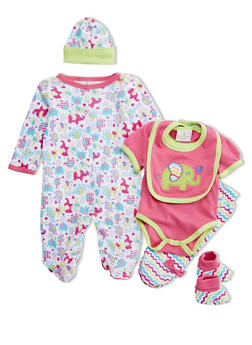 Baby Girl 6-Piece Set in Elephant Print - 5506054737115