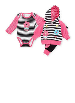 Baby Girl Bodysuit with Hoodie and Joggers - 5506054739358