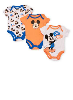 Baby Boy Set of 3 Bodysuits with Mickey Mouse Prints - 5506073458255
