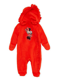 Baby Girl Fleece Footed Bodysuit with Minnie Mouse Graphic - 5509017728661