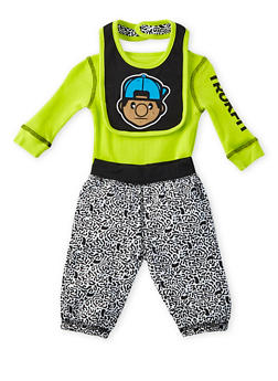 Baby Boy Trukfit Three-Piece Bodysuit and Joggers with Bib Set - 5520072910002