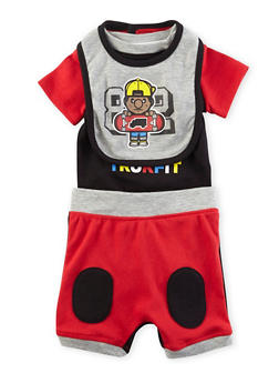 Baby Boy Trukfit Bodysuit with Shorts and Bib - 5520072910012