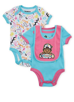 Baby Girl Trukfit Set of 2 Bodysuits with Bib and Doodle Print - 5520072910507