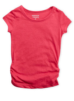Toddler Girls French Toast Pink Short Sleeve Crew Neck Tee with Ruched Sides - 5540068321002