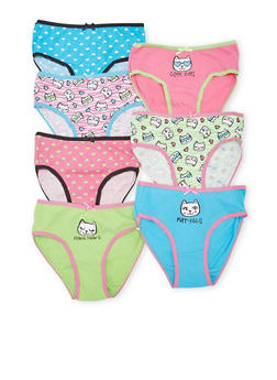 Girls 4-6x Pack of 7 Panties with Days of the Week and Cat Graphics - 5568035160677