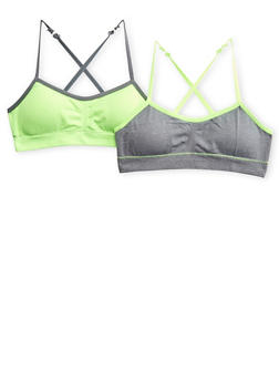 Girls Pack of 2 Padded Sports Bras with Criss-Cross Strap Back - 5568054730408